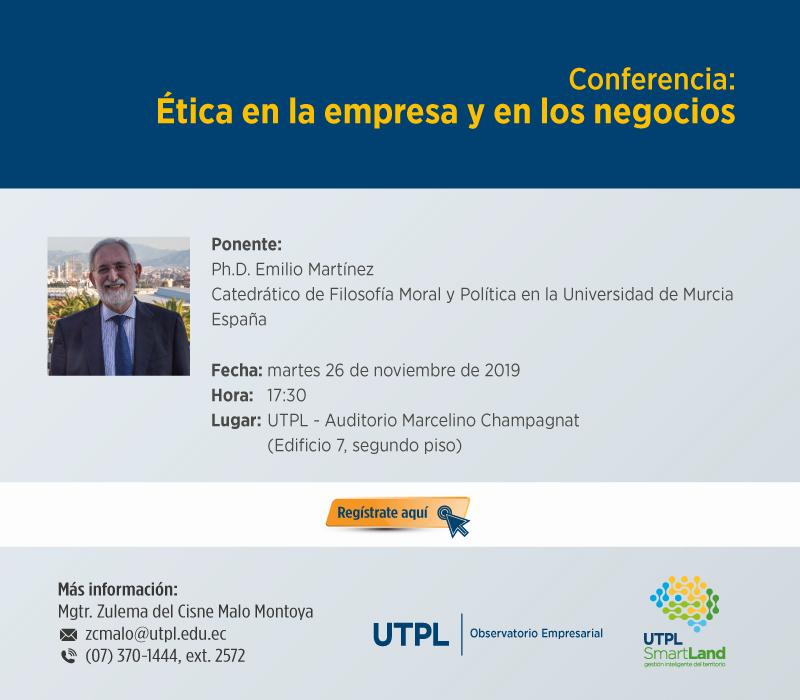 Conferencia: Etica en la empresa y los negocios
